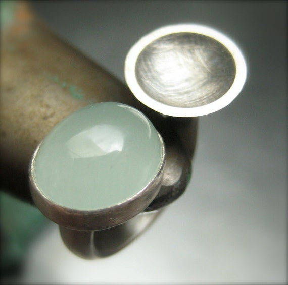 Aquamarine Ring in Sterling Silver.  Gemstone Ring.  Double Ring.