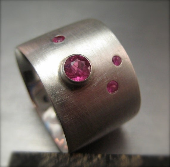 Constellation Ring. Ruby.  Sterling Silver.