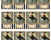 Prim Halloween Witches Tags Labels Name Cards Digital Collage Sheet Commercial Use E826