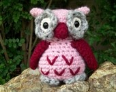 Pink and Red Valentine's Owl