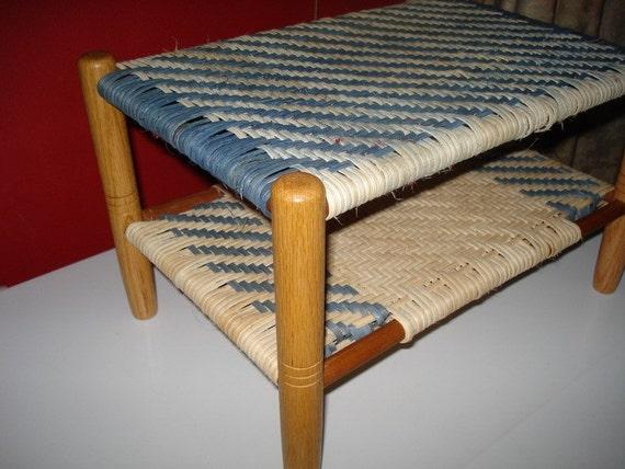 Foot Stool with Blue Herringbone Pattern
