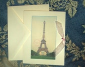 Eiffel Tower French Note cards,  Set of 10, with Ribbon Ties