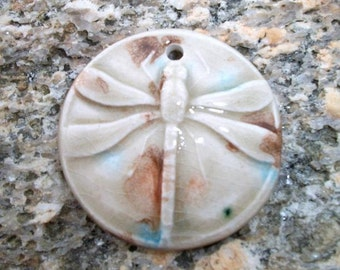 Ceramic Dragonfly Pendant Glazed Brown and Blue