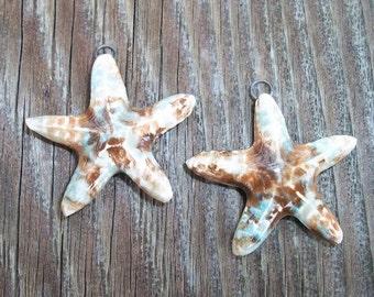 Handmade Ceramic Brown and Blue Starfish Earring Pair