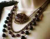 Silly Sale UK Vintage Amethyst Glass Brooch Layered Chain Necklace Half Price