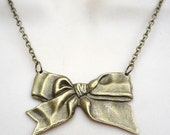 Brass Bow Pendant Necklace