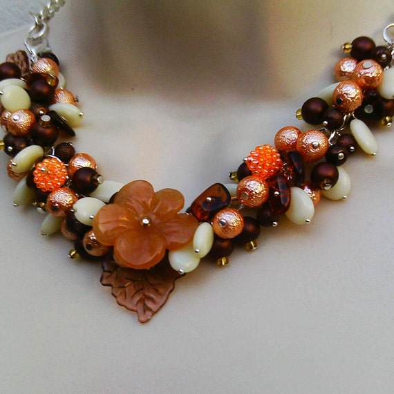 Chocolate Orange With Cream Flower Necklace Bracelet Combined