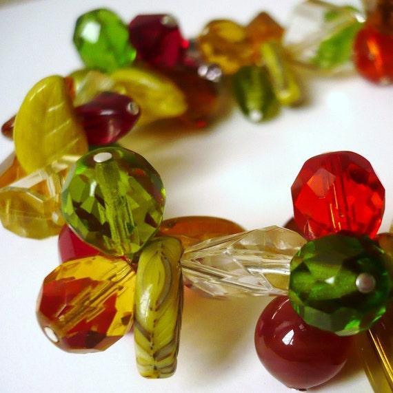 Winter  Berries Glass Bracelet