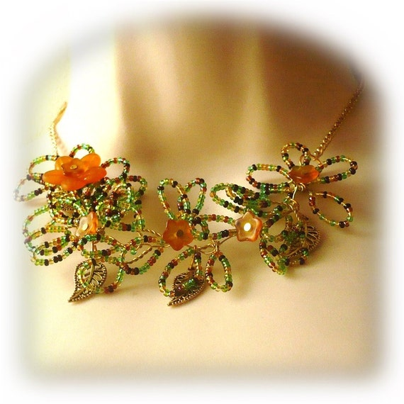 Autumn Flower Wire Wrapped Necklace