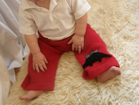 Cheery Red Stegosaurus Longies in Soft, Thick, Pure Lambswool for Baby