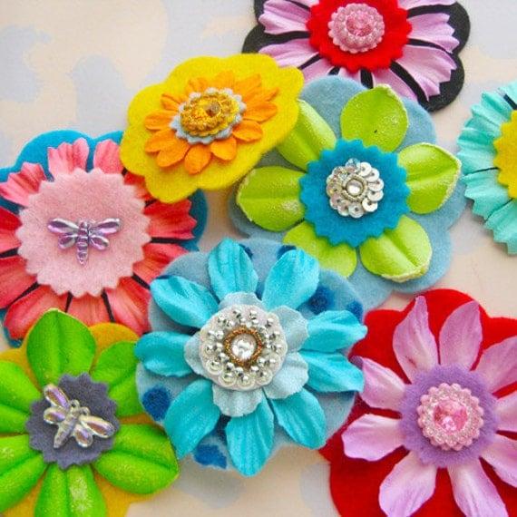 Felt Flower Embellishments with Rhinestones