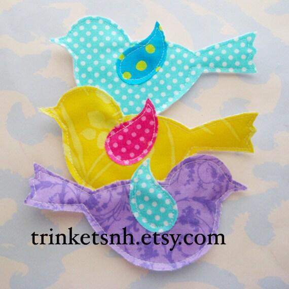 Fabric Bird Applique Embellishments Set of Three