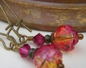 Pink Lemonade . Rosebud Floral Earrings on Brass