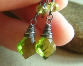 Quartz Peridot Earrings on Oxidized Sterling . Green Briolette Quartz . Serenity