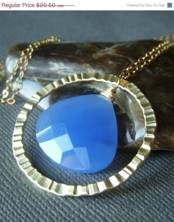 Valentines Sale Blue Chalcedony Necklace on Goldfill . Cornflower Blue Gemstone Briolette . Dusk