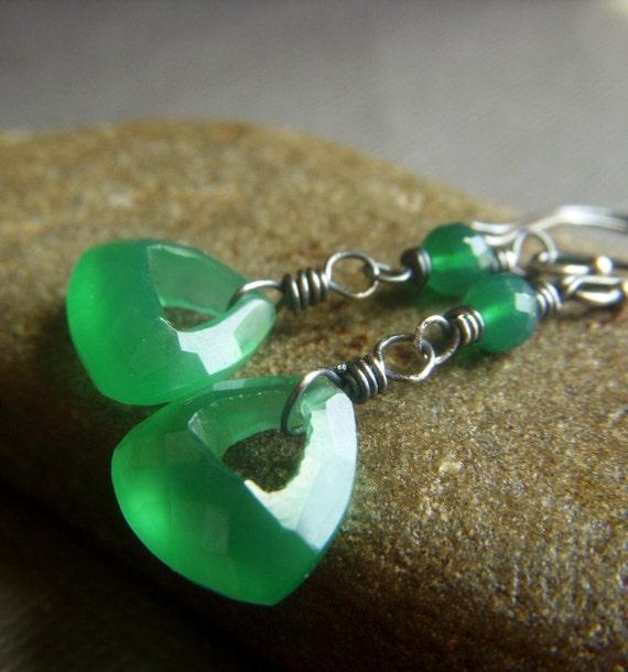 Green Onyx Earrings on Oxidized Sterling . Wirewrapped Gemstone Briolette . Emerald Glow