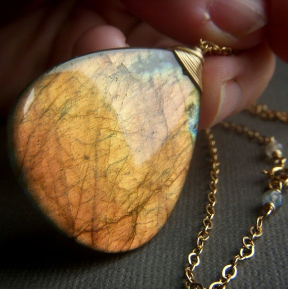 Fiery Labradorite Necklace on Goldfill . Large Wirewrapped Briolette Pendant . Golden Sun