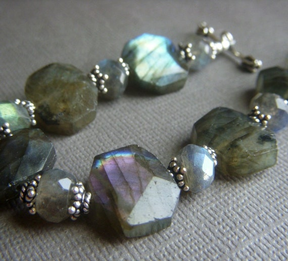 Labradorite Bracelet on Sterling . Blue and Violet Nuggets . Nightfall