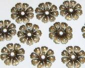 30 Antique Bronze Flower Bead Caps 20mm Nickel Free