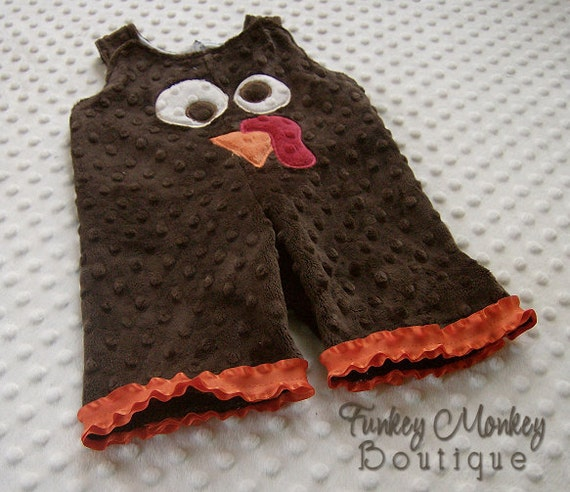 Silly Turkey Minky Dot Romper Over Alls Custom Size 0 3 6 months GIRLS