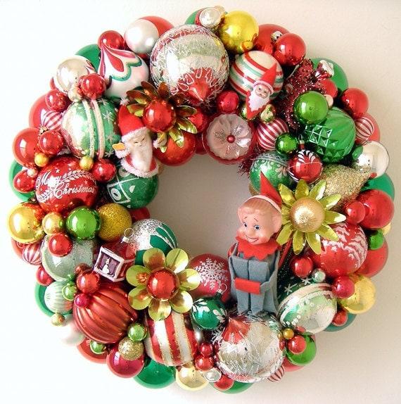 Vintage Christmas Ornaments Wreath Elf Santas By Giddyuppony