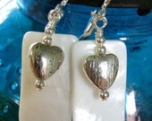 Mother of Pearl and Heart Earrings