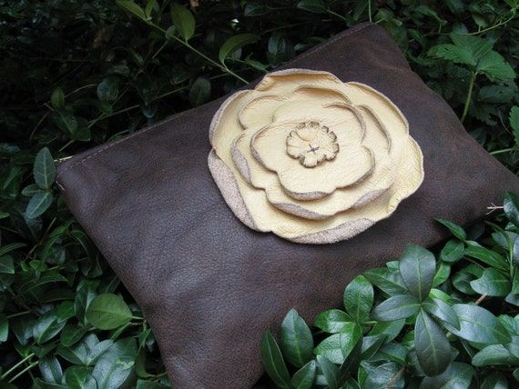 Flower Power Pouch with Butter Cream Rose