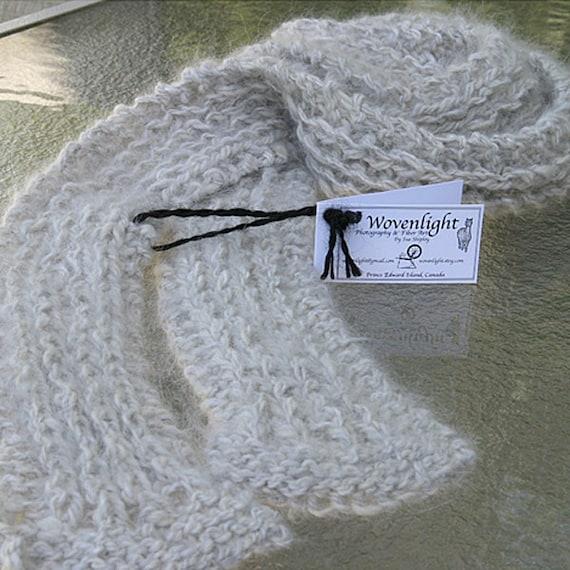 Handspun, Handknit Angora/Alpaca Scarf