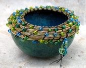 KIT Bead Coiled Mini Gourd w/ Sweetgrass Blue with Cobalt Blue Beads DIY Do It Yourself Coiling Kit