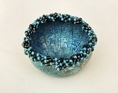 Beaded Bowl Mini Gourd Turquoise with Turquoise, Green and Gray Beads