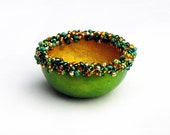 Beaded Gourd Ring Bowl Green & Gold w/ Sparkling Glass Beads Woodland