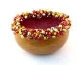 RESERVED For Debbi- KIT- Beaded Elegance Mini Bowl Gourd Red & Red, Gold Bead Mix