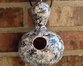 Bird House Painted Gourd Silver Black White for Your Small Birds Organically Grown