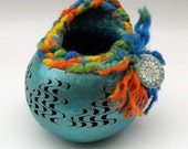 Painted Gourd Bowl Hand carved coiled gourd basket Blue orange yellow green black