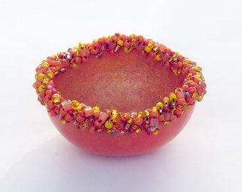 Beaded Gourd  Bowl Painted Gourd Art Orange Ring Dish Bridesmaid Gift Idea Hostess Gift Idea Woman Teen Girl Gift for Girlfriend Romantic