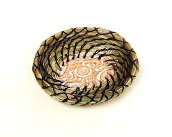 Coiled Basket Bridesmaid Gift Ring Bearer Fragrant Sweetgrass Miniature Ring Dish Basket