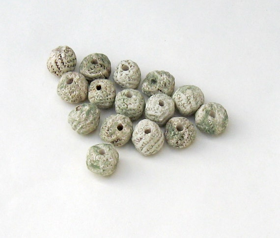 Stoneware Beads Rustic Round Moss Green Tones Textured Ceramic Set of 15