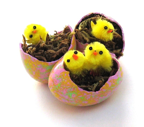 Egg Gourds with Chicks Set of 3 Spring Painted Easter Egg Gourds Decorations Ornaments