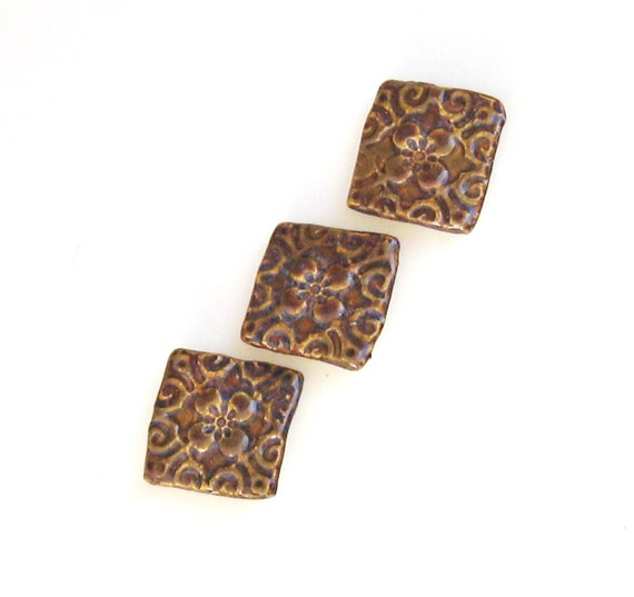 Ceramic Magnets Set of 3 Brown Tan Dogwood Flower Design
