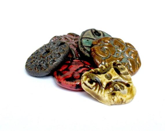 Ceramic Pendants 6 Rustic Ancient Look Mix