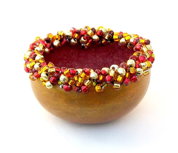 RESERVED For Debbi- KIT- Beaded Elegance Mini Bowl Gourd Red & Red, Gold Bead Mix
