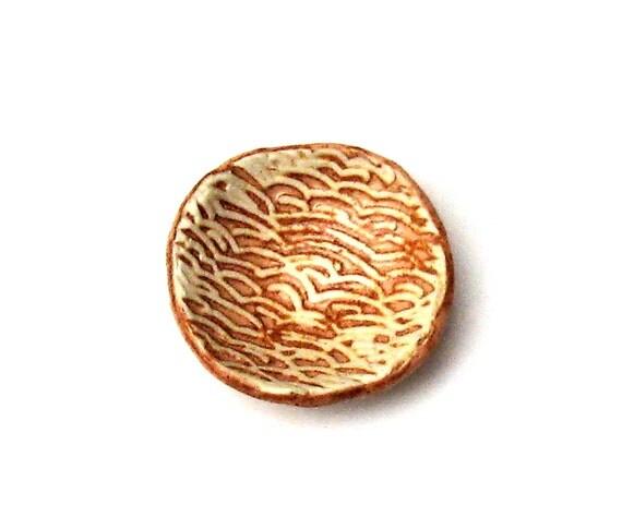 Mini Pottery Dish Cinnamon Brown Peach Nougat Stoneware Ring Pill Dish