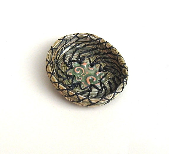 Coiled Basket Fragrant Sweetgrass Miniature Ring Dish Basket with Green Orange Ceramic Center