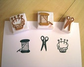 Sewing Kit - Set of 3 Handcarved Rubber Stamps