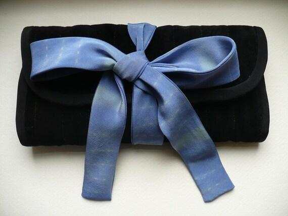 Black Velvet Jewelry Case with Powder Blue Silk Tie