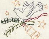 Christmas Bird Bell and Greenery Sprig Pattern for Embroidery, Stitchery, or Painting