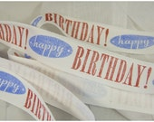 "3 yards 1 inch Twill Tape Hand Stamped ""Happy Birthday"""