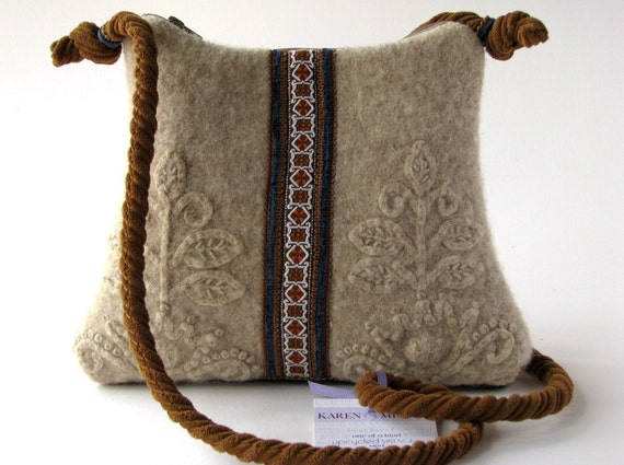 Wheat Colored Boiled Wool  Purse With Vintage Trim Detail