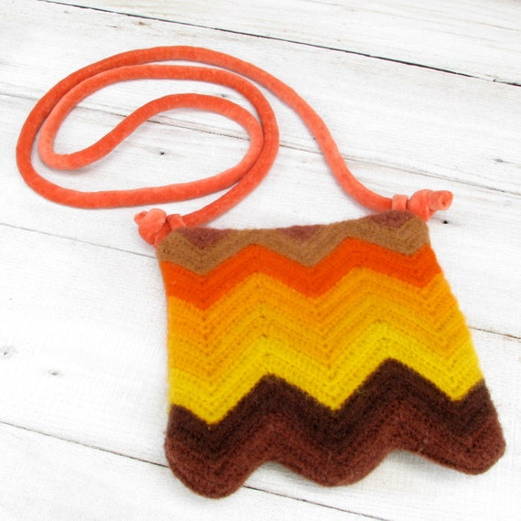Orange Yellow and Brown Chevron Purse Made from a Recycled Afghan