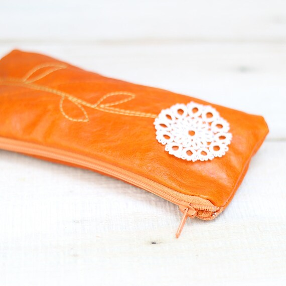Recycled Tangerine Orange Leather Pouch with Doily Flower